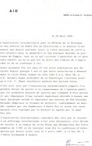 Lettre EB AID 25 03 1964